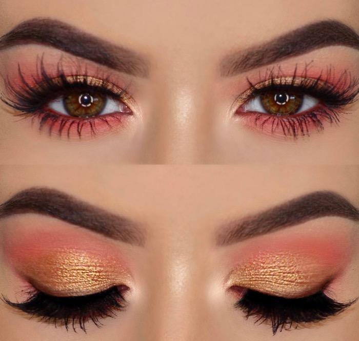 geschminkte augen, festliches make-up in orange und rosa, falsche wimpern