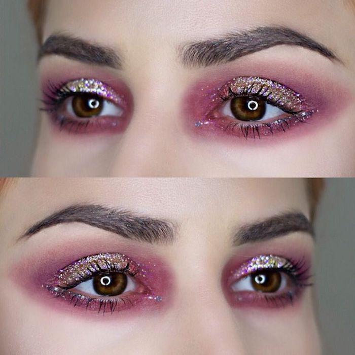 geschminkte augen, silvester make-up in rosa, augenbrauen betonen