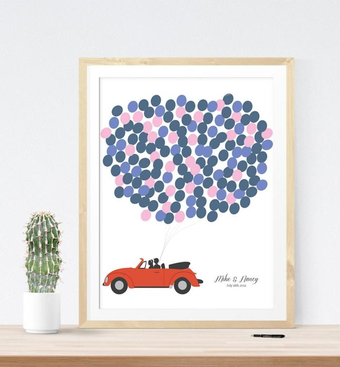 Cooles Bild anstatt klassischen Hochzeitsbuches, rotes Auto mit vielen Luftballons, auf jeden Ballon etwas aufschreiben