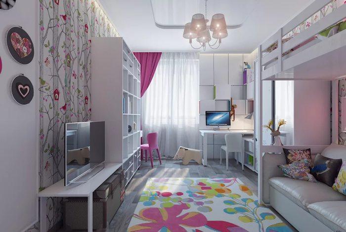 jugendzimmer gestalten ideen bunter teppich mit blumen und farben bei einem dezenten zimmer in hauptfarbe eine mischung aus grau und lila