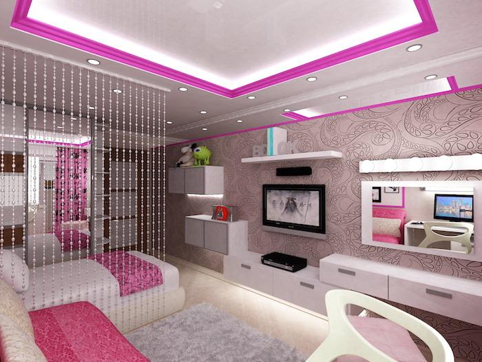 mädchen jugendzimmer ein cooles design einrichtung und möbel beleuchtung fernseher regale teppich