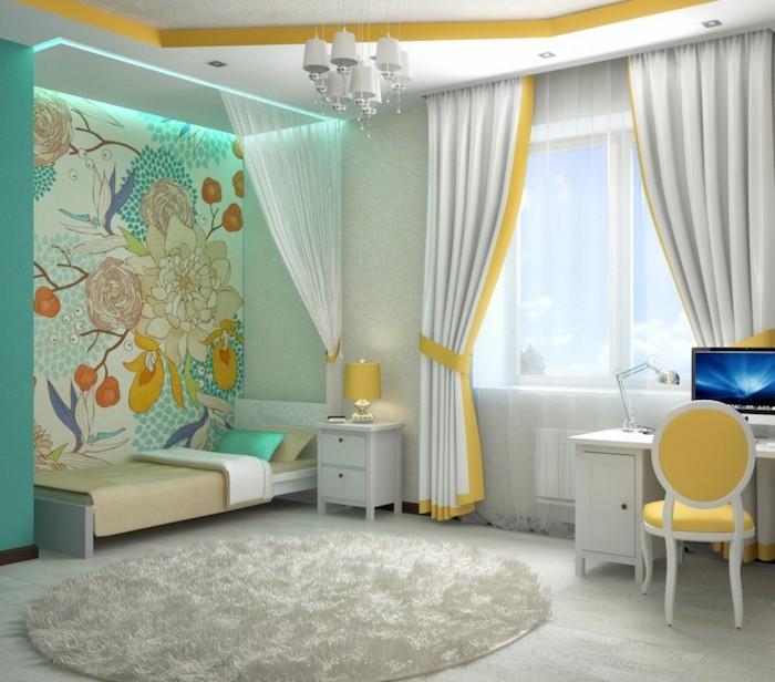 jugendzimmer gestalten graues zimmer mit bluen und grünen dekorationen gelber stuhl computer schreibtisch am fenster vorhänge weiß gelb