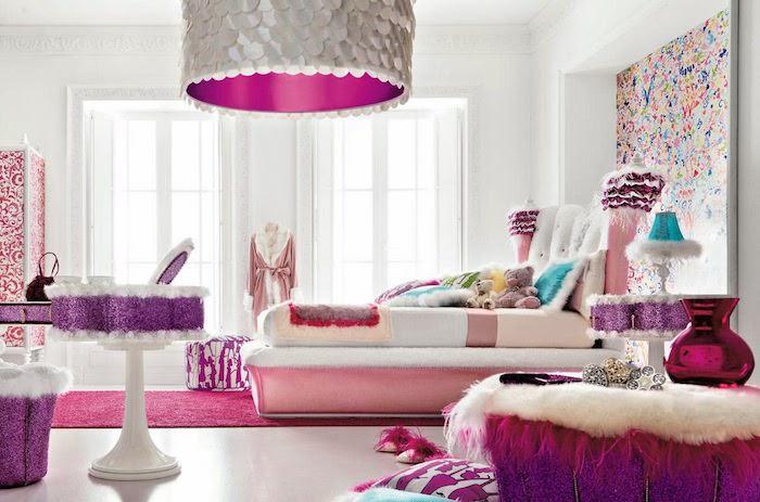 jugendzimmer gestalten rosa lila weiß bunte wandgestaltung ideen elemente am zimmer violettes design