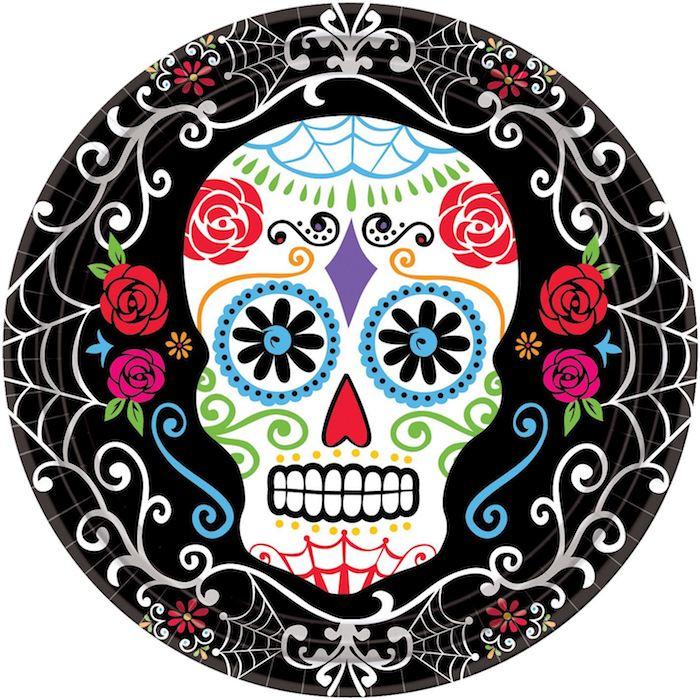 ein mexikanischer totenkopf tattoo mit einem großen weißen totenkopf mit zwei roten rosen und violetten rosen und schwarzen blumen und einem weißen spinnennetz, bunter totenkopf