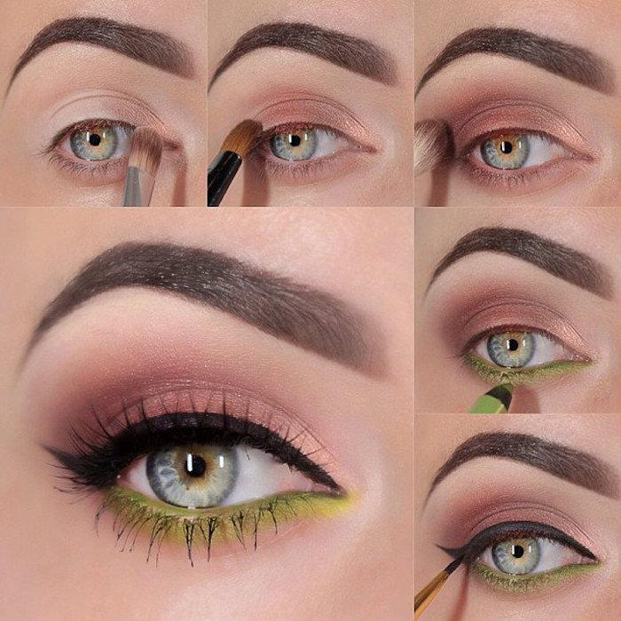 schmink tipps für blaue augen, braune lidschatten, grüner augenstift