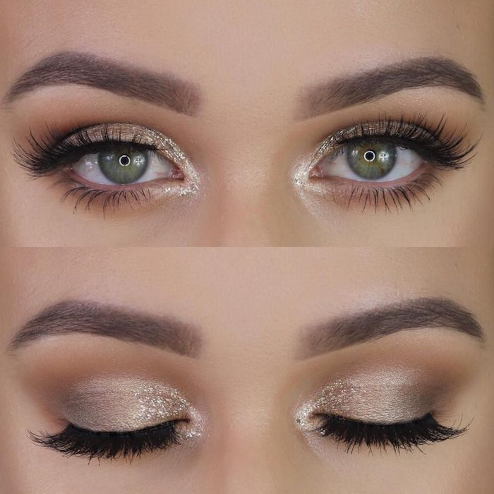grüne augen schminken, silvester make-up mit glitzer, augenbrauen betonen