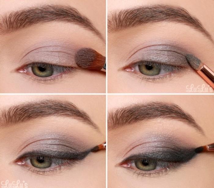 grüne augen betonen, graue lidschatten auftragen, abend make-up