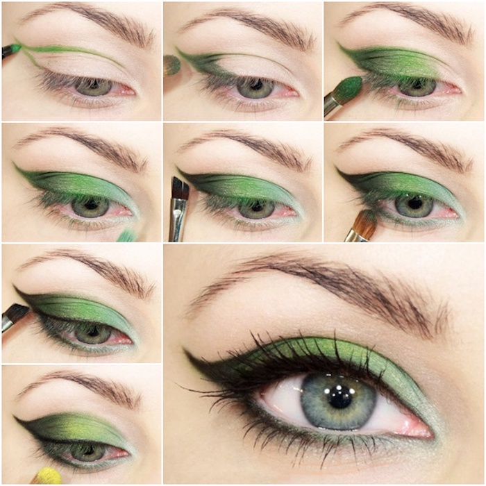 grüne augen betonen, make-up-für den sommer, grüne lidschatten