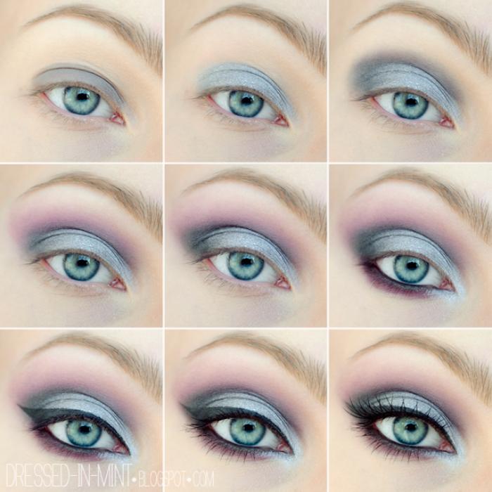grüne augen betonen, make-up für den sommer, make-up in lila und grau