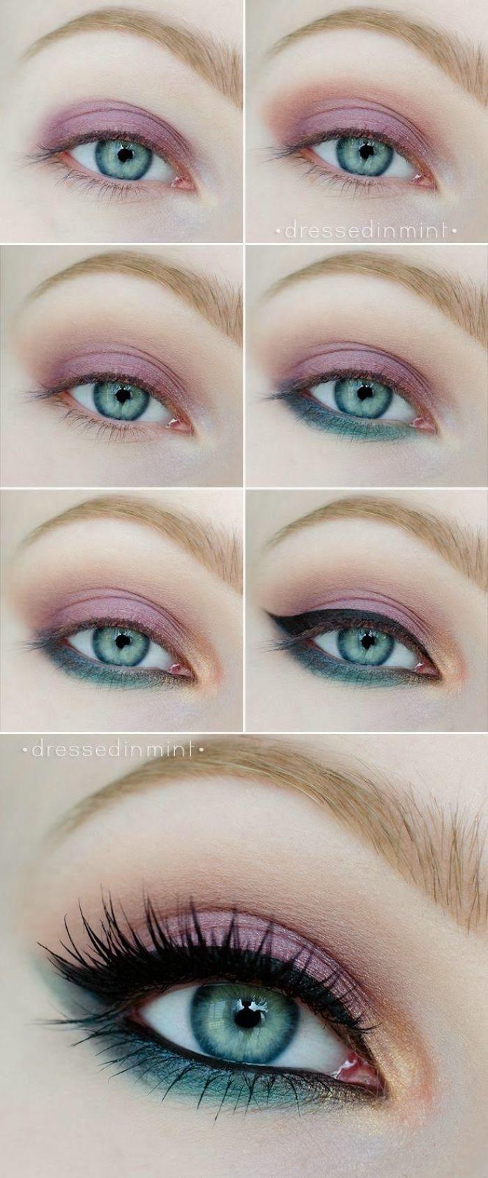 grüne augen betonen, buntes make-up in blau und lila, sommer