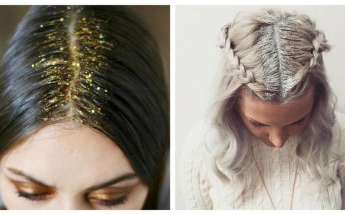 haarschnitt mittellange haare frisur für feiern 2020 frisuren weihnachten zwei ideen mit glitter im haargrund