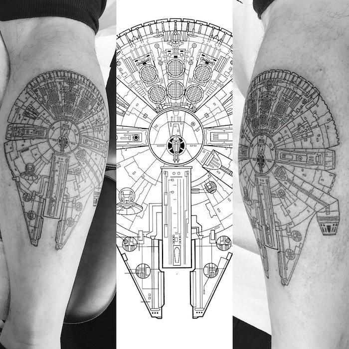 star wars tattoo ideas - hände mit einem großen star wars tattoo mit einem weißen star wars raumschiff millenium falcon