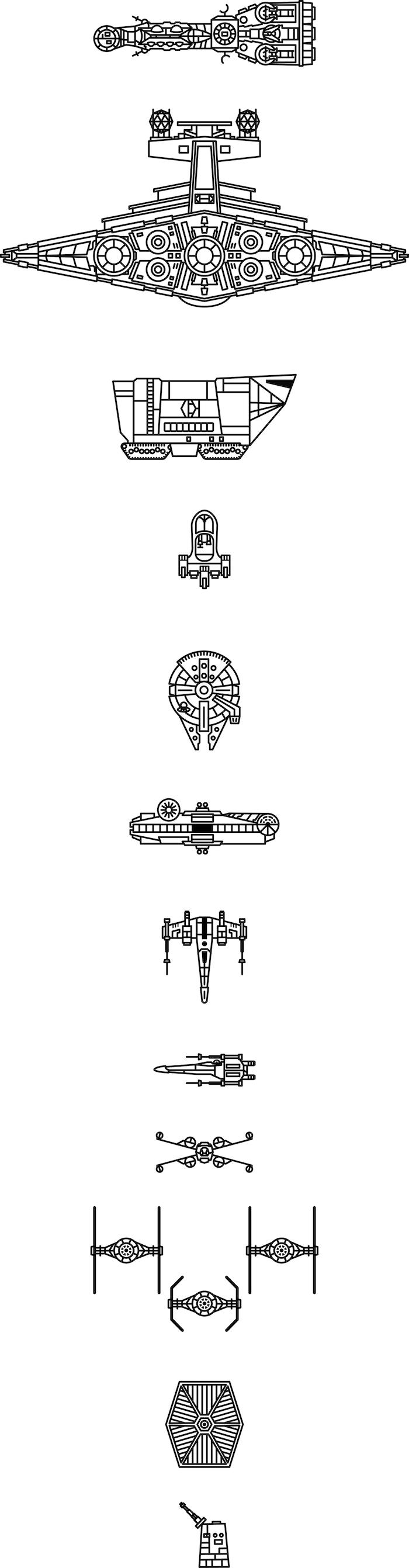 star wars tattoo ideas - kleine und große schwarze fliegende star wars raumschiffe