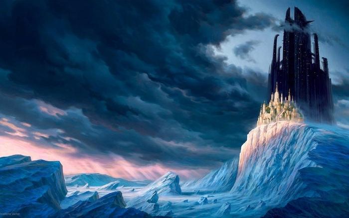 ein weißes kleines schloss und ein großes schwarzes schloss - ein himmel mit vielen grauen und schwarzen wolken - schöne winterbilder