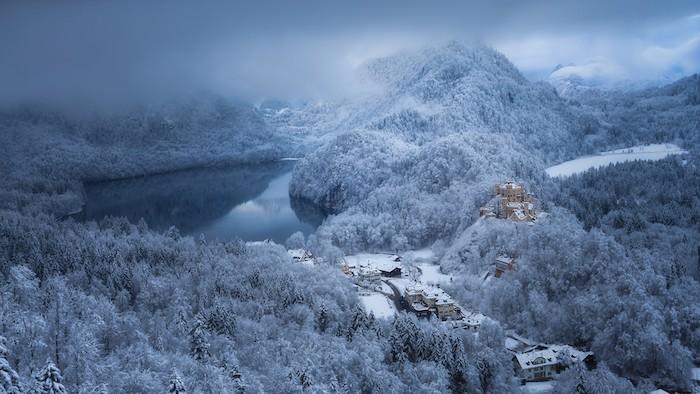 schöne winterbilder - ein wald mit vielen bäumen mit schnee und see und einem kleinen gelben schloss - himmel mit vielen grauen wolken