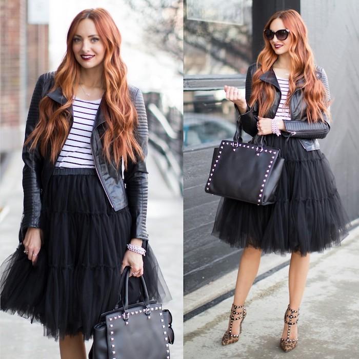 boho chic trendy outfit in überwiegend schwarz lange haare-wellen rothaarige frau schwarze tasche valentino schuhe tutu bluse
