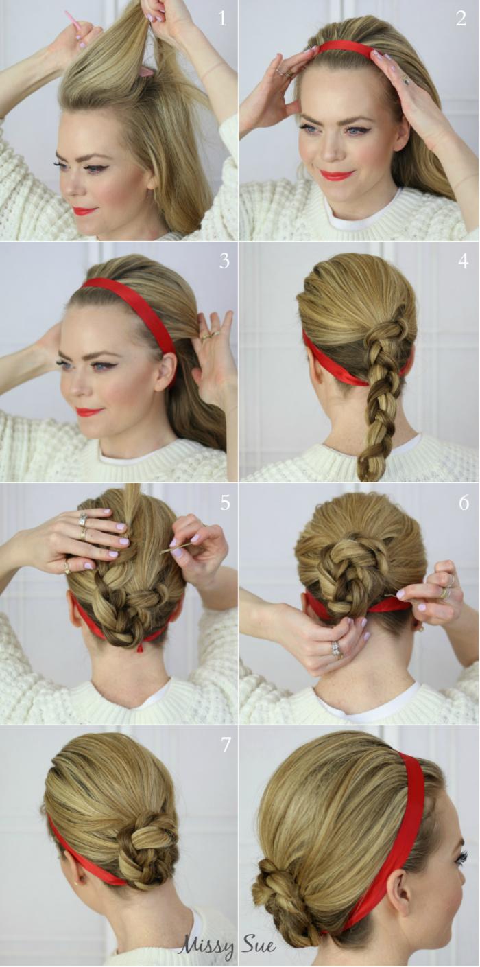 Schritt-für-Schritt Anleitung für schicke Hochsteckfrisur mit rotem Haarband, Frisur für lange Haare