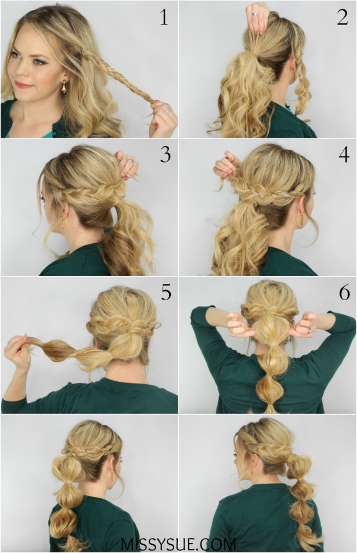 Schnelle und einfache Frisur zum Nachstylen, fertig in fünf Minuten, Zopfkranz und attraktiver Pferdeschwanz