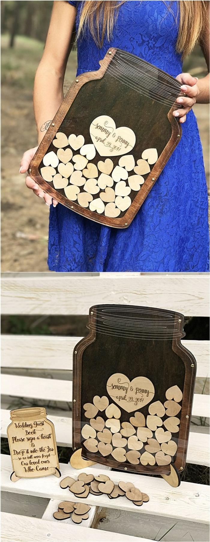 Holztafel als Einmachglas, auf kleine Holzherzen etwas schreiben oder zeichnen, tolle Idee für Gästebuch