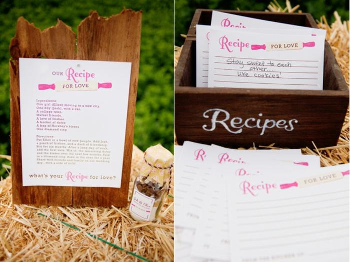 Idee für Hochzeitsgästebuch, Rezept für Liebe von allen Hochzeitsgästen für das Ehepaar, rosafarbene Aufschriften