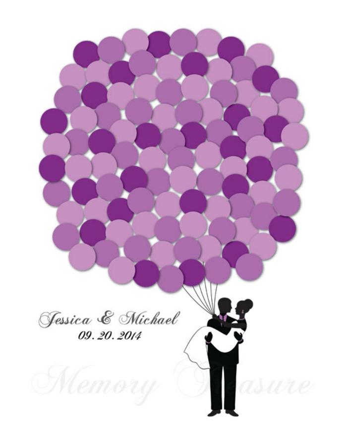 DIY Hochzeitsgästebuch, kleine Kreise als Luftballons beschriften, den eigenen Namen oder kurze Botschaft aufschreiben