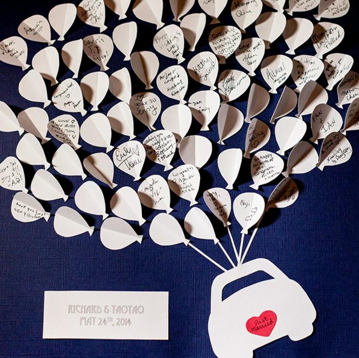 DIY Hochzeitsgästebuch, kleine Motive aus Papier ausschneiden, Auto und Luftballons zum Beschriften