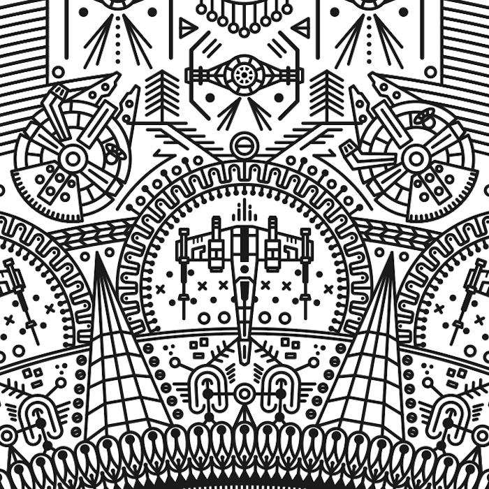 mandala tattoo mit kleinen weißen mandala star wars tattoo motiven - kleine fliegende star wars raumschiffe, sternen und planeten