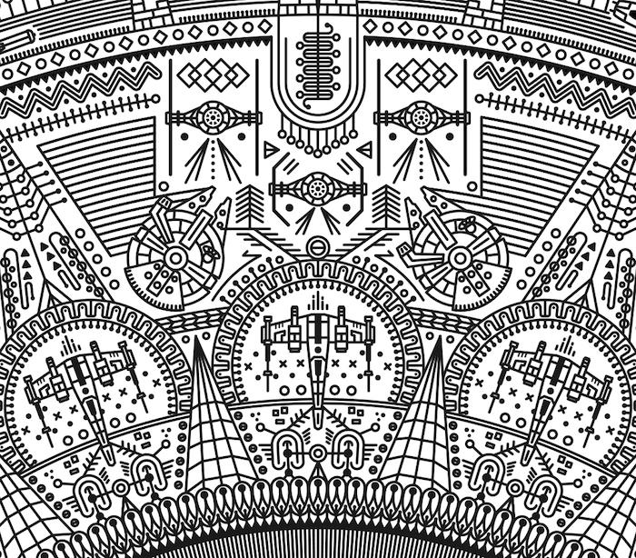 ein großer mandala tattoo mit vielen kleinen weißen und schwarzen fliegenden raumschiffen und star wars motiven