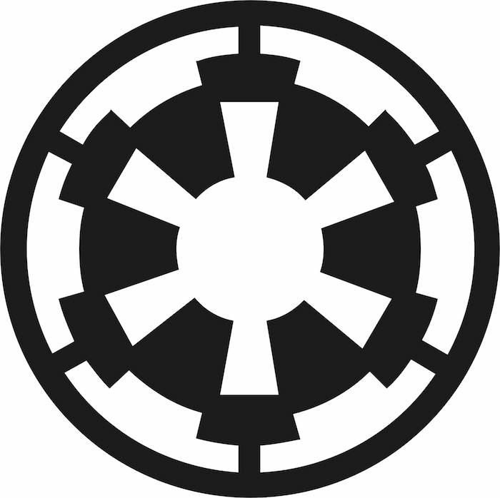 ein schwarz-weißer großer star wars tattoo mit einem star wars logo - star wars tattoo ideas