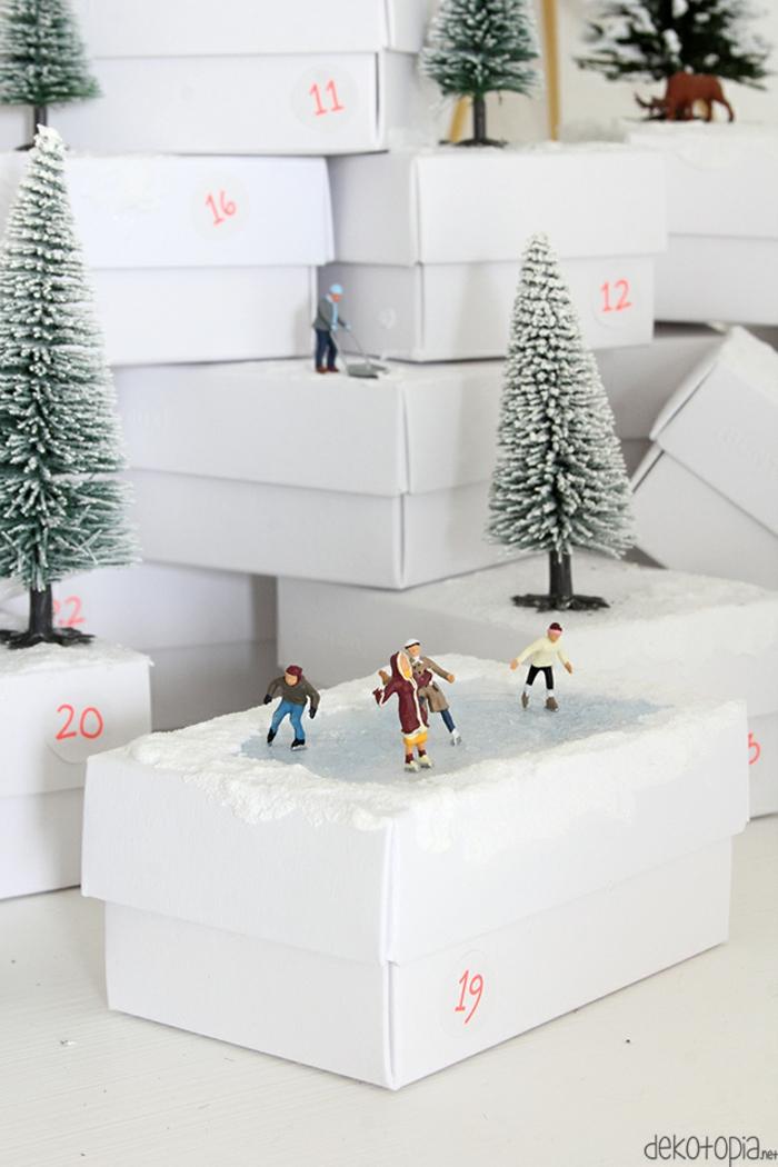 Coole Alternative zum klassischen Adventskalender, weiße Schachteln selbst verzieren und mit Geschenken füllen