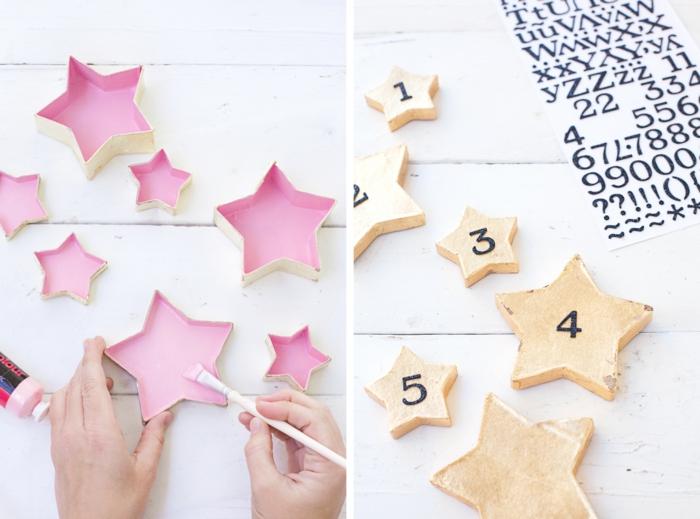 Sternenschachteln für Adventskalender selber machen, die Innenseite mit Farbe bemalen, Ziffern aufkleben