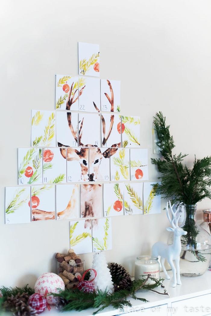 Adventskalender selber machen und an der Wand befestigen, Rentier mit Acrylfarben zeichnen