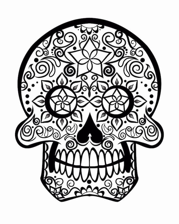 ideen tattoo mexikanischer totenkopf vorlage mit sternen und anderen ornamenten ideen und inspo