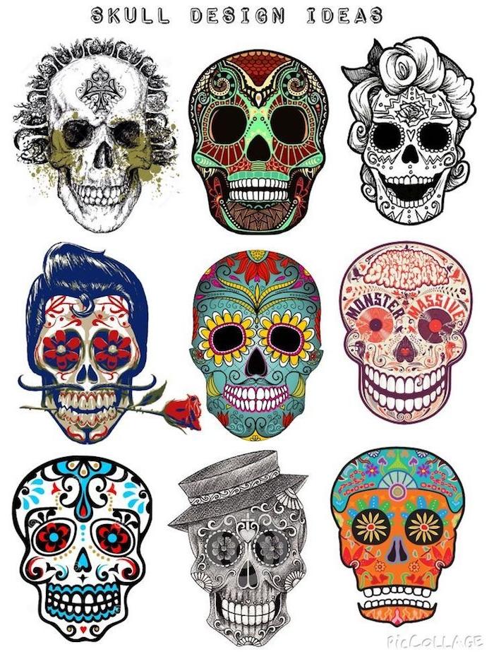 ideen und inspiration für mexikanische totenköpfe verschiedene bunte designs mit blumen