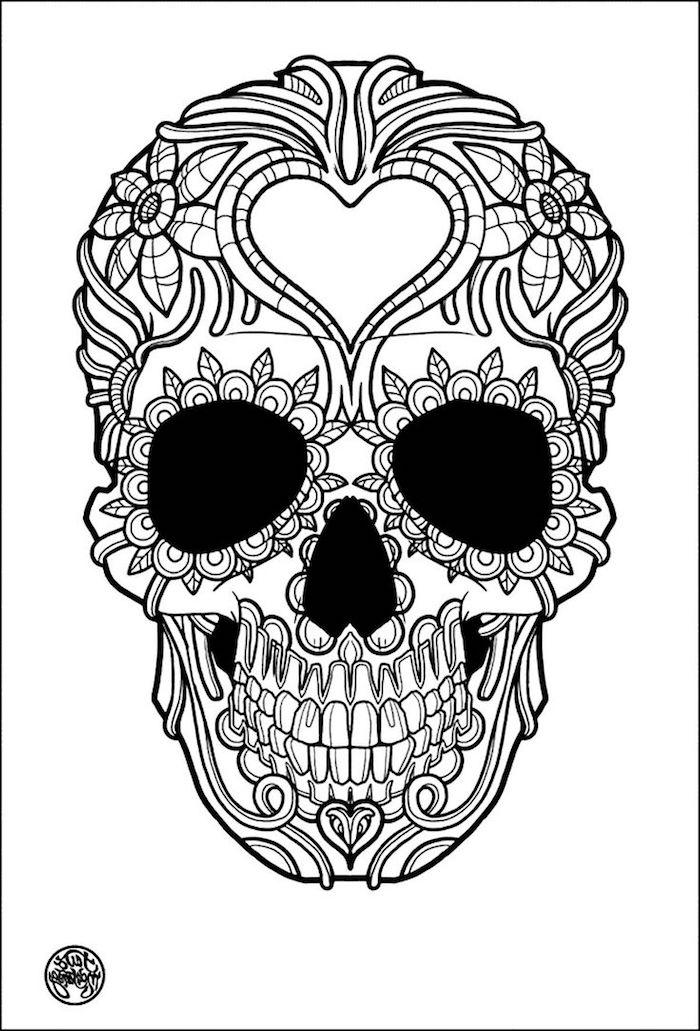 inspiration mexikanischer totenschädel mit einem herz bedeutung totenkopf tattoo