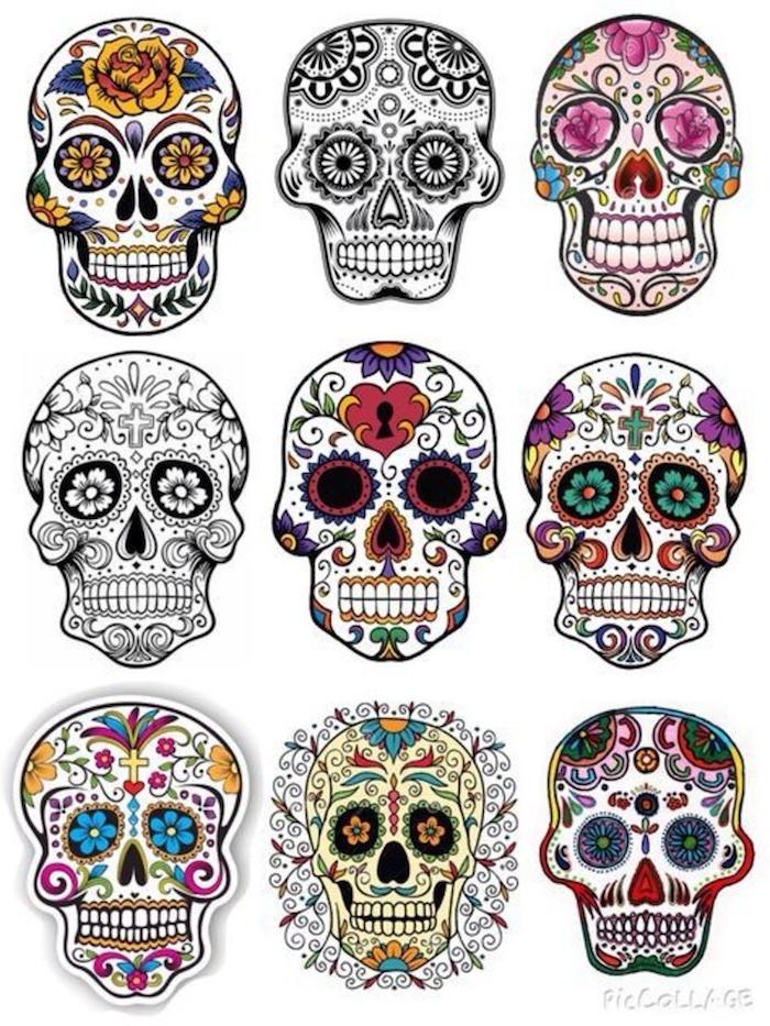 inspiration tattoo totenkopf bunt mit blumen und ornamenten verschiedene tattoos ideen