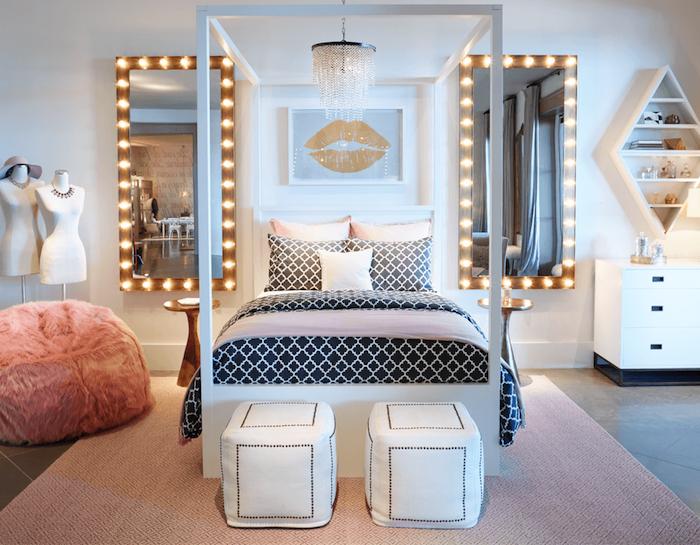 mädchen jugendzimmer kreative gestaltung designer zimmer für mädchen teenager ideen flauschiger sessel zwei große spiegel