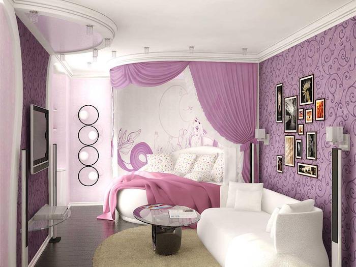 jugendzimmer gestalten lila weiß rosa wandgestaltung sofa fernsehwand glastisch deko im zimmer