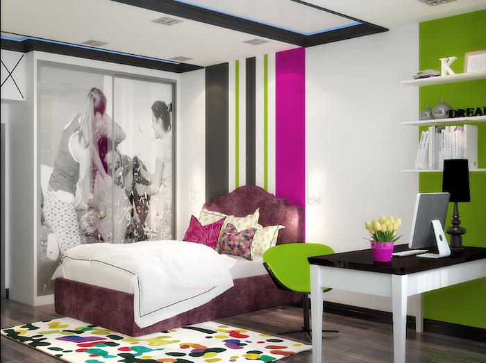 mädchen jugendzimmer bunte zimmergestaltung farben fröhliche laune im zimmer schranktüre mit fototapaten