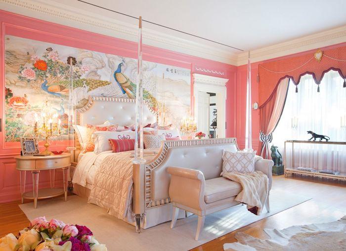zimmer gestalten in einem erhabenen stil ideen rosa orange bohemian haus design wandgestaltung voll farbe und buntheit