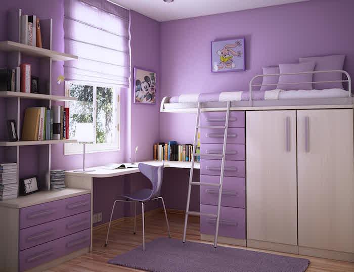 teenager zimmer in lila und beige liebe farben für das kinderzimmer eines teenager mädchen hochbett schreibtisch schubladen schrank regale fenster