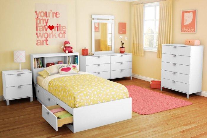 teenager zimmer kreativ gestalten geln orange und rot liebe aufschrift über dem bett bett mit schubladen für die wäsche