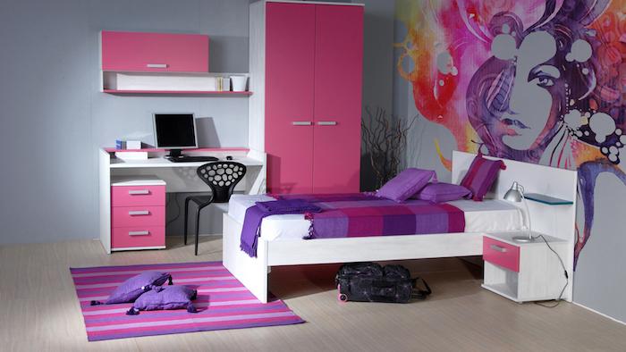 jugend zimmer kreativ einrichten und gestalten lila und rosa akzente im grauen zimmer wanddeko frau rosa rot orange