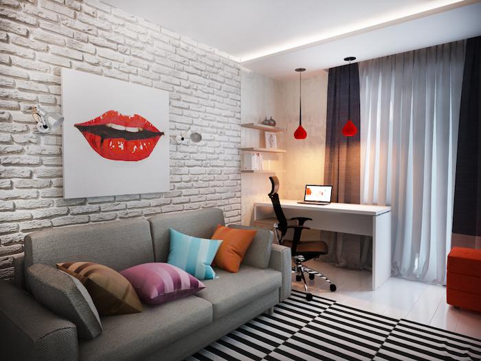jugendzimmer einrichtungsideen wanddeko wandbild weiß mit den lippen einer frau rote lippen deko über dem sofa graues sofa mit deko kissen schreibtisch am fenster