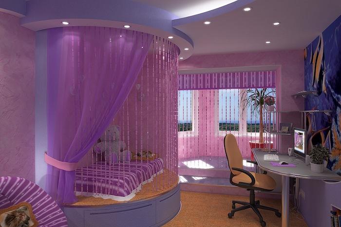 jugendzimmer cool gestalten lila höhestelle, wo das bett liegt vorhänge kreativ ideen schreibtisch mit stuhl dezente beleuchtung
