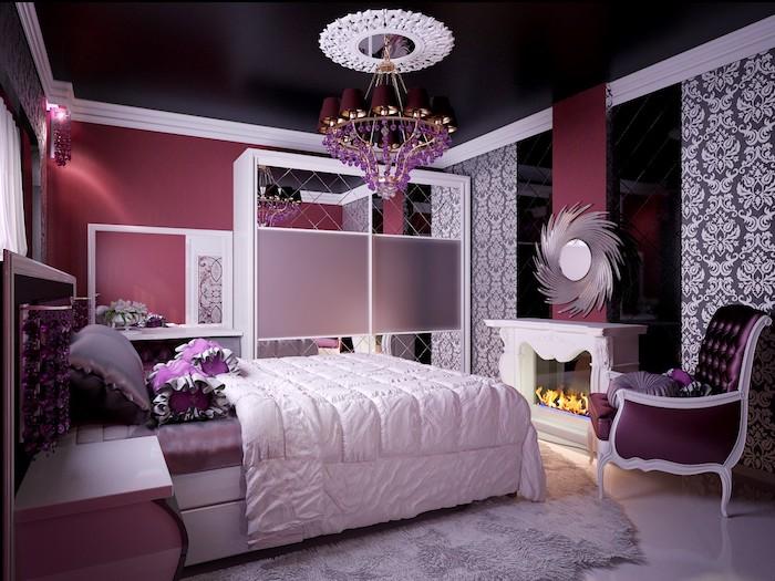 jugendzimmer ideen in lila luxuseinrichtung im teenager zimmer bettdecke zimmergestaltung ideen