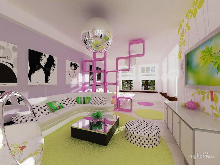 jugendzimmer komplett einrichten schöne möbel und kreative ideen raumtrenner in pink wandbilder frauen designer ideen discoball lampe