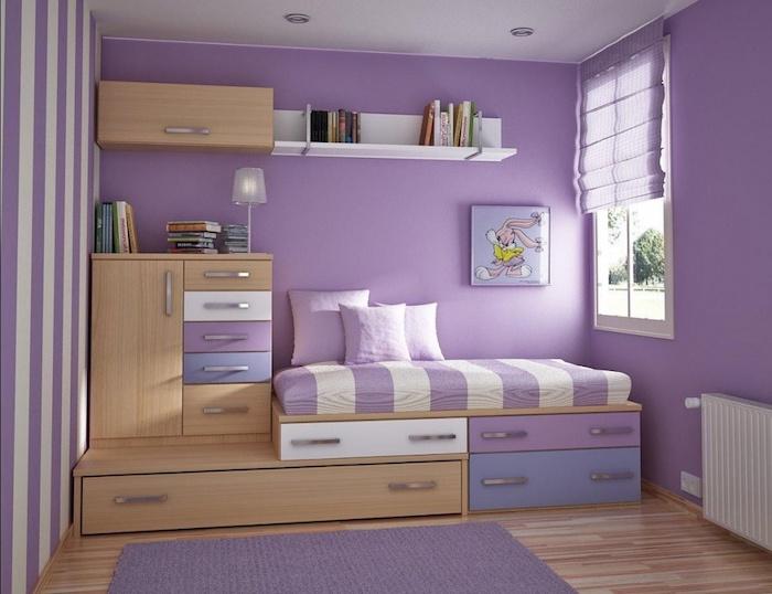 jugendzimmer komplett gestalten in lila und beige kleines mädchenzimmer selber einrichten bett design mit schränken und schubladen regale