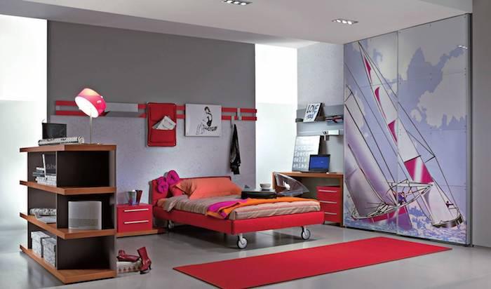 zimmer dekorieren mädchenzimmer in rot und blau balance der farben surfen bild auf dem kleiderschrank bettdesign rot orange regale