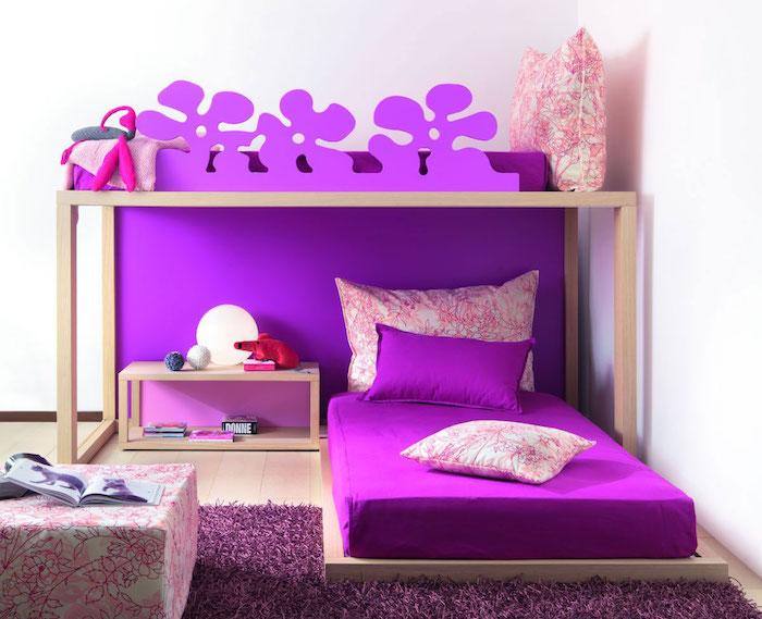 jugendmöbel in der farbe violett oder verschiede nuancen des lilas lilabett lila schrank deko ideen in der lieblingsfarbe des mädchens